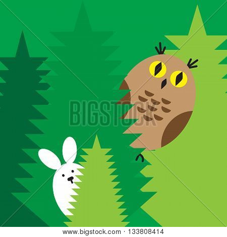 The rabbit and owl play at hide-and-seek in the wood