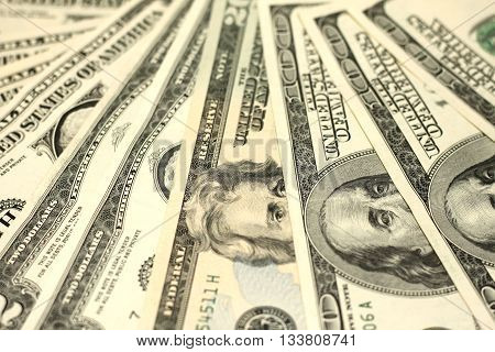 One Hundred Dollar Bills Close-up, money background