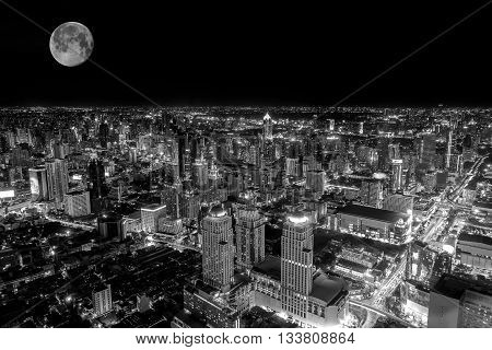 Top view of the colorful nightlife of Bangkok on the night of the full moon;black and white filter tone.
