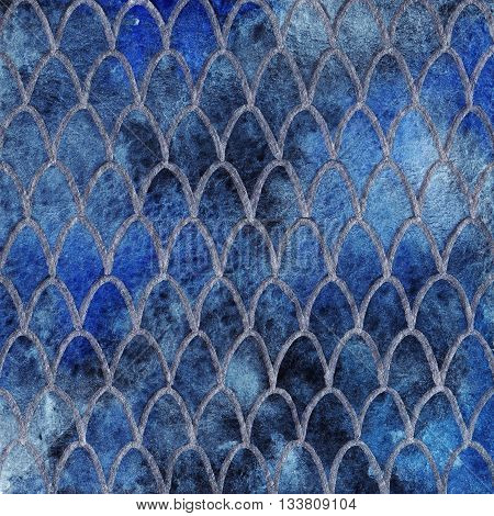 Dragon skin scales blue sapphire silver pattern texture background
