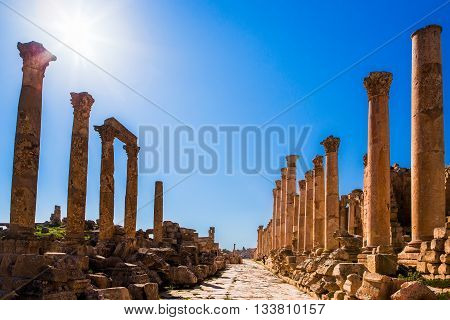 Ruins of Jerash, ancient Roman town in Jordan in spring
