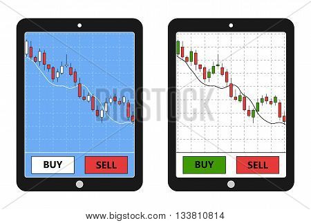 Tablet with forex chart. Forex application on tablet. Digital device with forex diagram. Vector illustration.