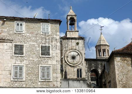 View of St Domnius Bell Tower and the clock tower from Narodni Trg Square, Split's Old Town, Croatia