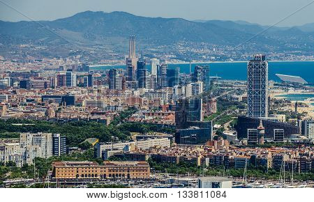 Barcelona Spain - May 22 2015. Aerial view on Barcelona city