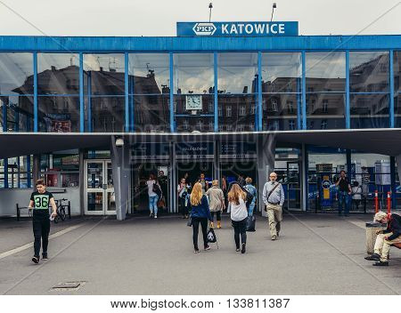 Katowice Poland - August 22 2105. People walks in front of entry of main railway station in Katowice