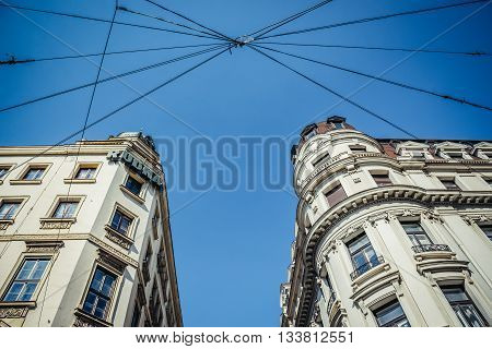 Belgrade Serbia - August 29 2015. Building of Mathematical Institute of the Serbian Academy of Sciences and Arts (right side) on Prince Michael Street in Belgrade city