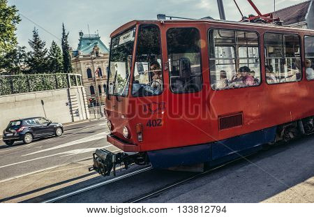Belgrade Serbia - August 29 2015. Old red trmway on Pariska Street