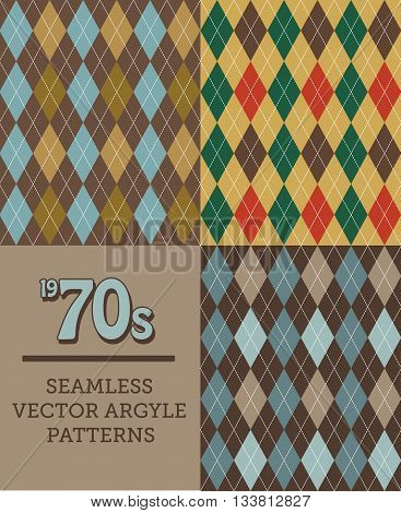 Three Retro 70s or 1970s-style Seamless Argyle Patterns