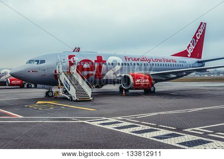 Edinburgh UK - January 20 2015. Boeing 737-377 of Jet2 airlines on airport in Edinburgh