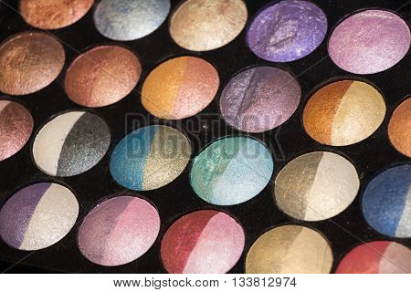 Professional palette with different color eye shadows