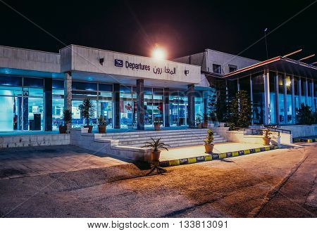 Amman Jordan - December 23 2015. Main building of Amman Civil Airport