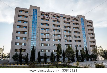 Amman Jordan - December 23 2015. Main building of Jordan Hospital