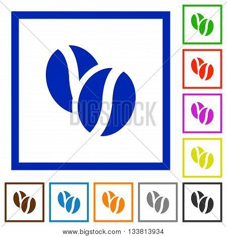 Set of color square framed Coffee beans flat icons