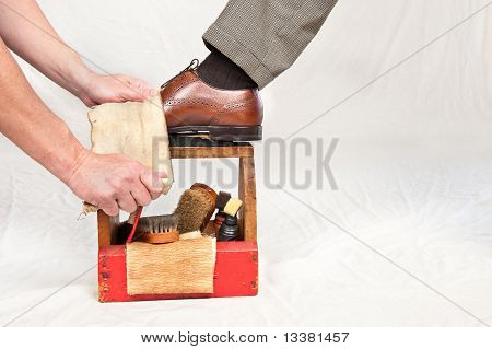 Antique Shoe Shine Box And Worker