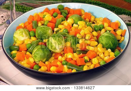 A Bowl Of Mixed Vegetables, Sprouts, Carrots, Beans, Peas And Corn 01