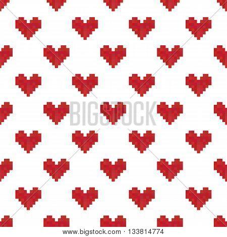 Geek valentine's day pixel hearts seamless pattern background.