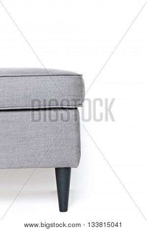 half of grey footrest isolated on white background