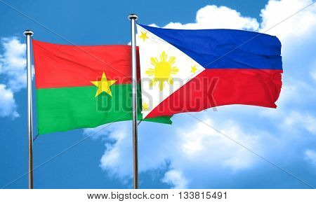 Burkina Faso flag with Philippines flag, 3D rendering