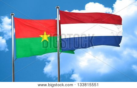 Burkina Faso flag with Netherlands flag, 3D rendering