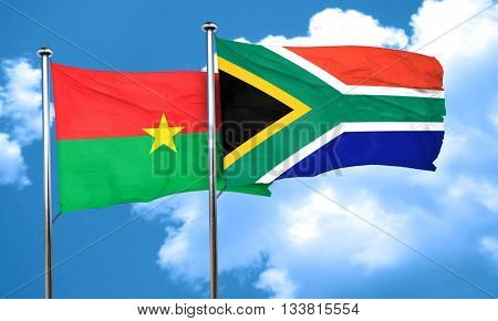 Burkina Faso flag with South Africa flag, 3D rendering