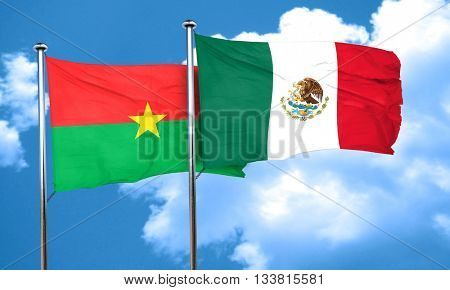 Burkina Faso flag with Mexico flag, 3D rendering