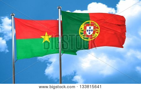 Burkina Faso flag with Portugal flag, 3D rendering