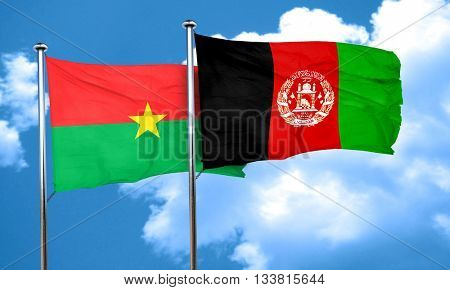 Burkina Faso flag with afghanistan flag, 3D rendering