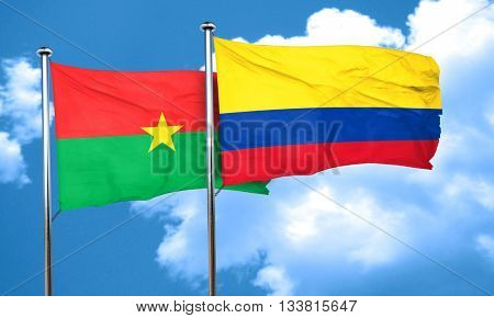 Burkina Faso flag with Colombia flag, 3D rendering