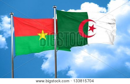 Burkina Faso flag with Algeria flag, 3D rendering