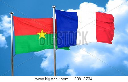 Burkina Faso flag with France flag, 3D rendering