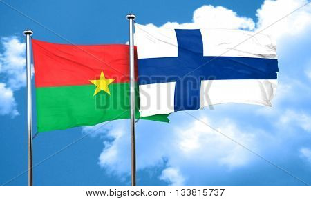 Burkina Faso flag with Finland flag, 3D rendering