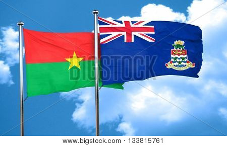 Burkina Faso flag with Cayman islands flag, 3D rendering