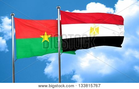 Burkina Faso flag with egypt flag, 3D rendering