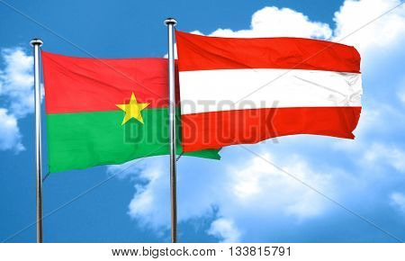 Burkina Faso flag with Austria flag, 3D rendering
