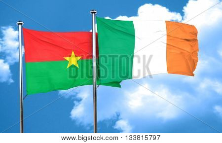 Burkina Faso flag with Ireland flag, 3D rendering
