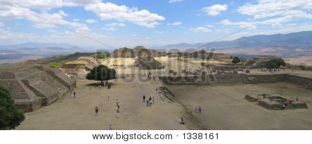 Plaza Central From Monte Alban Old City  Mexico  Panorama2