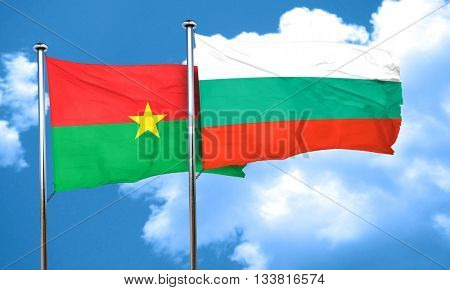 Burkina Faso flag with Bulgaria flag, 3D rendering