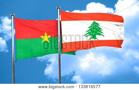 Burkina Faso flag with Lebanon flag, 3D rendering