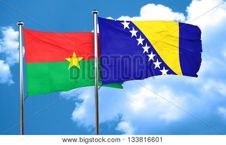 Burkina Faso flag with Bosnia and Herzegovina flag, 3D rendering