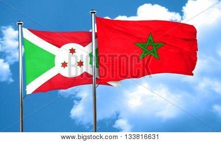 Burundi flag with Morocco flag, 3D rendering