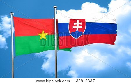 Burkina Faso flag with Slovakia flag, 3D rendering