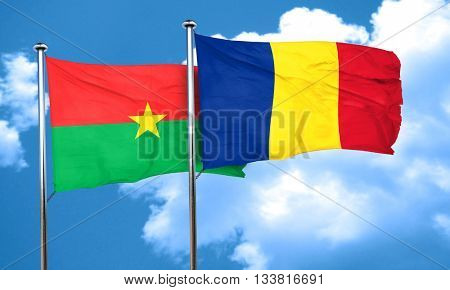 Burkina Faso flag with Romania flag, 3D rendering