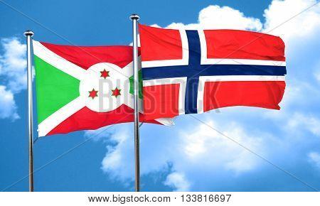 Burundi flag with Norway flag, 3D rendering