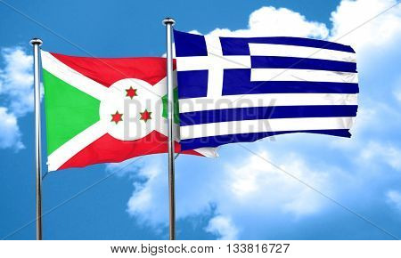 Burundi flag with Greece flag, 3D rendering