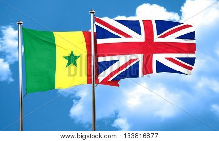 Senegal flag with Great Britain flag, 3D rendering
