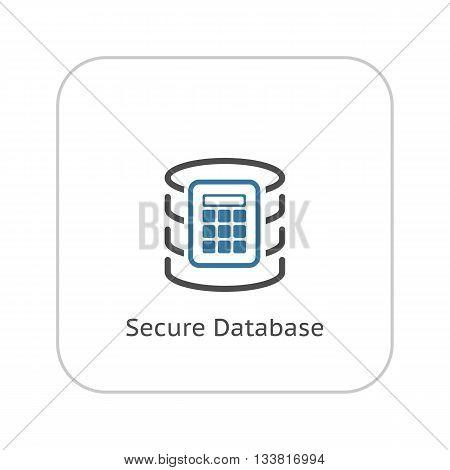Secure Database Icon. Flat Design. Business Concept Isolated Illustration.