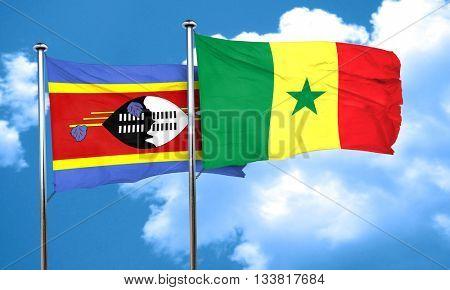 Swaziland flag with Senegal flag, 3D rendering