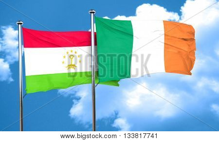 Tajikistan flag with Ireland flag, 3D rendering
