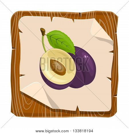 Vector illustration of plum on a white background