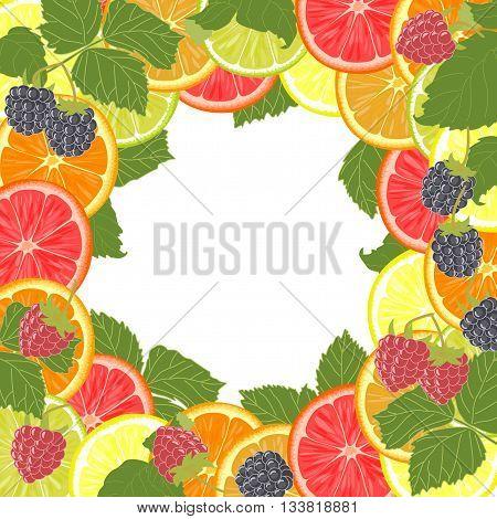 Lemon, orange, lime, raspberries, blackberries and green leaves.
